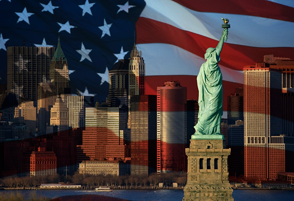 American flag and the Statue of Liberty