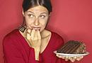Woman with chocolate cake.