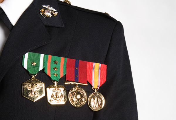 Medals on a uniform