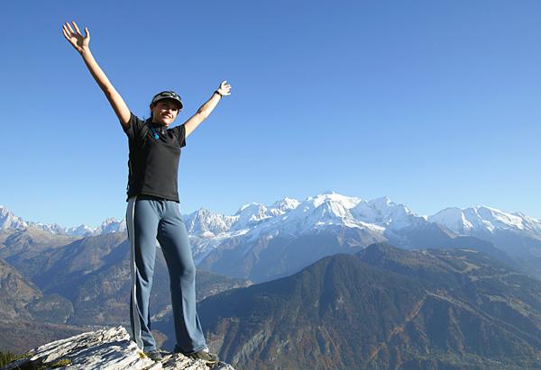 Woman on mountaintop