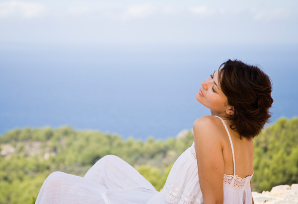 Woman relaxing alone