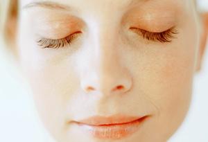 Woman focused on her breathing