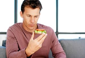 Man looking at food