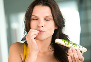 Woman savoring her food