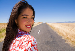 Woman on a road