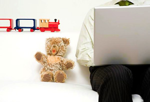 Father on laptop