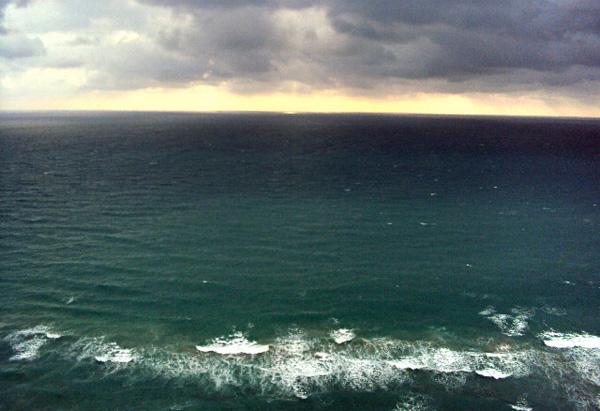 Ocean with dark sky