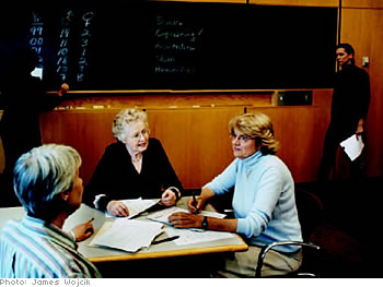 Nancy Hopkins (seated at right) and other female professors