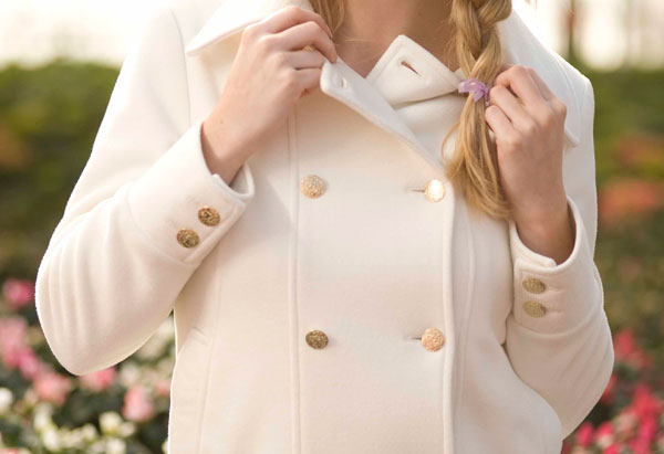 Pea Coat in Luxe Ivory from Vaute Couture