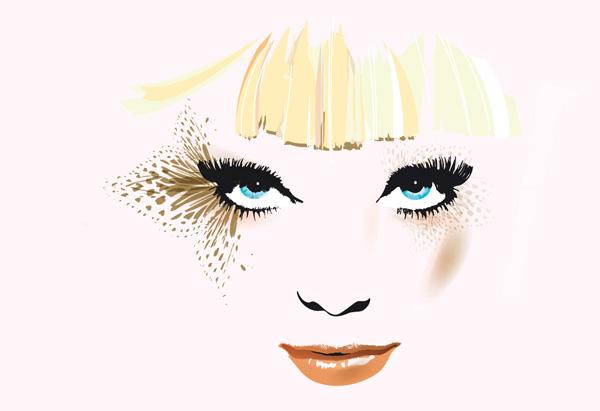 Blond hair and blue eyes