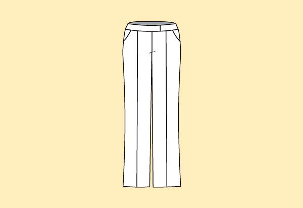 Pressed-creased pants.