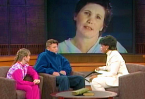 Rebecca, Willy and Oprah with Ellie Nesler on screen