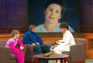 Becky, Willy and Oprah with Ellie Nesler on screen