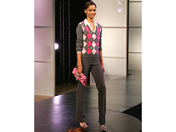 MICHAEL Michael Kors cashmere argyle sweater and pink pinstripe pant