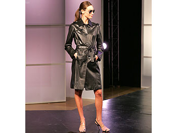 MICHAEL Michael Kors black leather trench coat