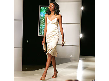 Beige satin cocktail dress from Valentino's Main Line.