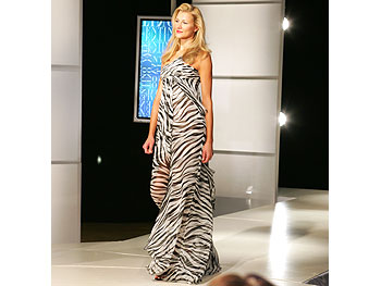 A zebra-print gown
