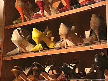 Organize shoes to see heel height
