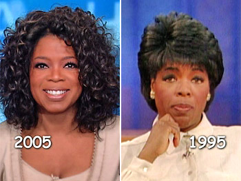 Oprah in 2005 and 1995