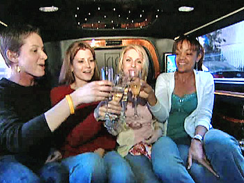Fabulous foursome in the limo