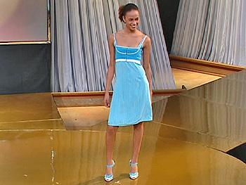 Anna Sophia models a Narciso Rodriguez dress.