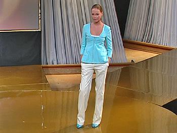 Polina models a Narciso Rodriguez suit.