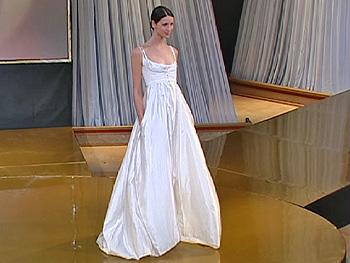 Caitriona models Narciso Rodriguez dress.