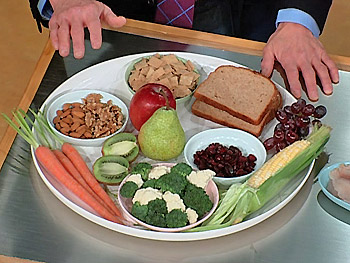 Nuts, bread, fruits and vegetables