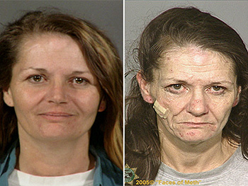 Multnomah Oregon Sheriff's Office mugshots of a crystal meth addict