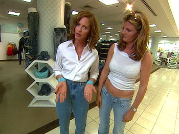 Trinny and Susannah model bad cuts of jeans.