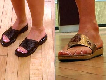 A chunky, unflattering black shoe vs. an elegant flat