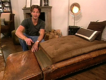 Nate finally found a place for an old leather daybed.
