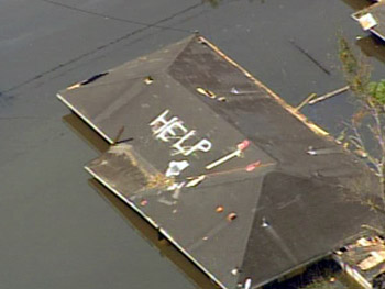 The remains of a rooftop plea for help