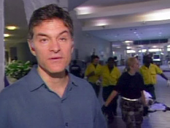 Dr. Oz outside the morgue