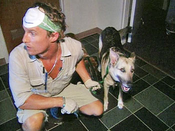 Matthew McConaughey and a lucky dog.