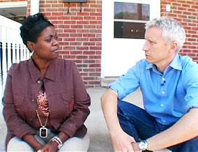 Anderson Cooper and Candace, president of Detroit's Homeless Action Network
