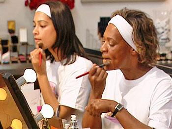 Sheetal and Ruth applying foundation