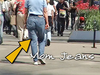Woman wearing mom jeans