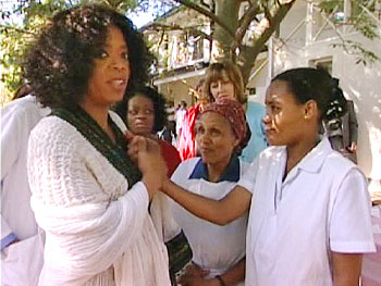 Oprah with a patient at the Fistula Hospital, Ethiopia