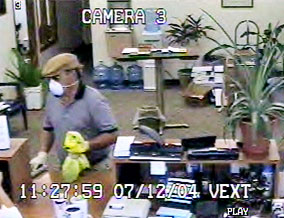 A surveillance photo of William's robbery