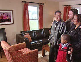 Melissa and her sons tour their new home.