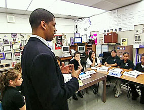 Kevin Johnson meets a group of parents at St. Hope