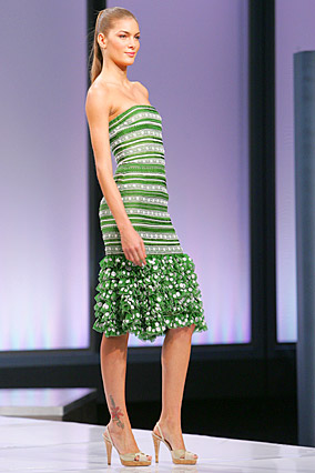 Green and white grosgrain dress