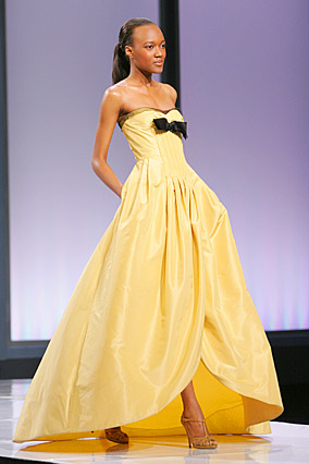 Yellow silk taffeta gown