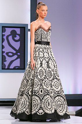 Black strapless gown with ivory embroidery