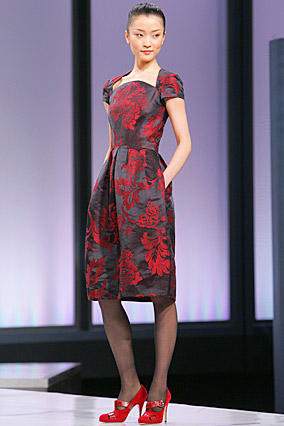 Red brocade dress