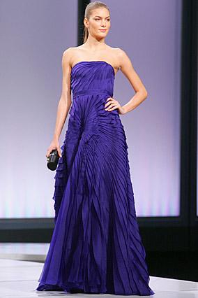 Violet strapless organza gown