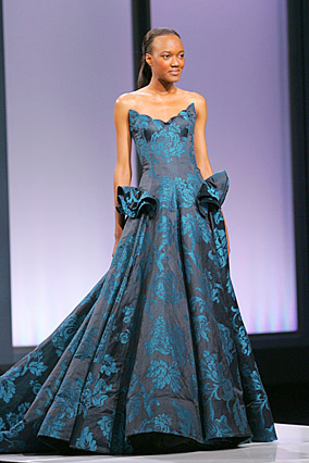 Blue brocade strapless ball gown