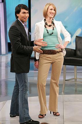 Mariah in Elie Tahari khakis