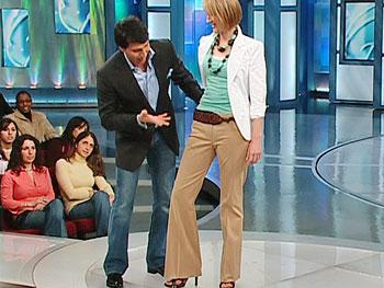Mariah wears khakis by Elie Tahari.